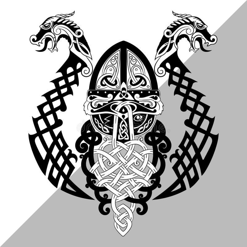 Odin, Wotan Los nórdises viejos y dios germánico de la mitología en Viking Age libre illustration
