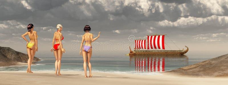 Odiseo en las sirenas stock de ilustración