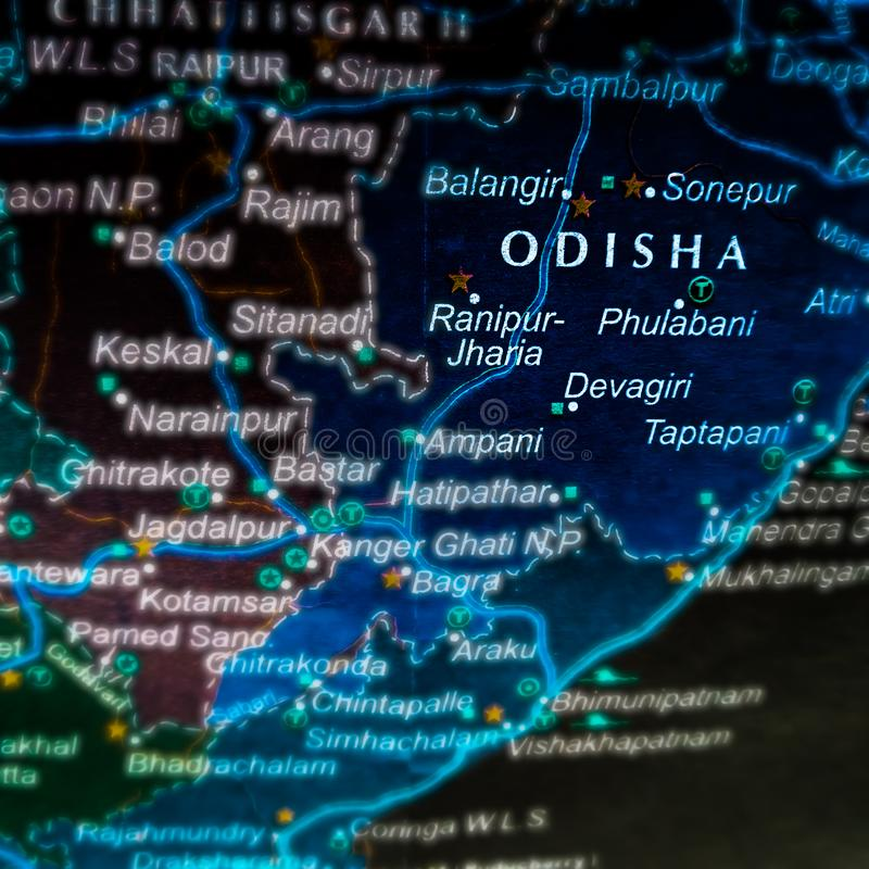 Odisha city name displayed on geographic map in India royalty free stock image