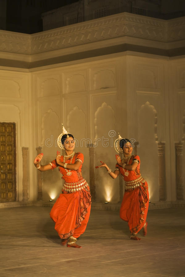 Traditional Indian Odissi dancers in Pushkar, India stock image