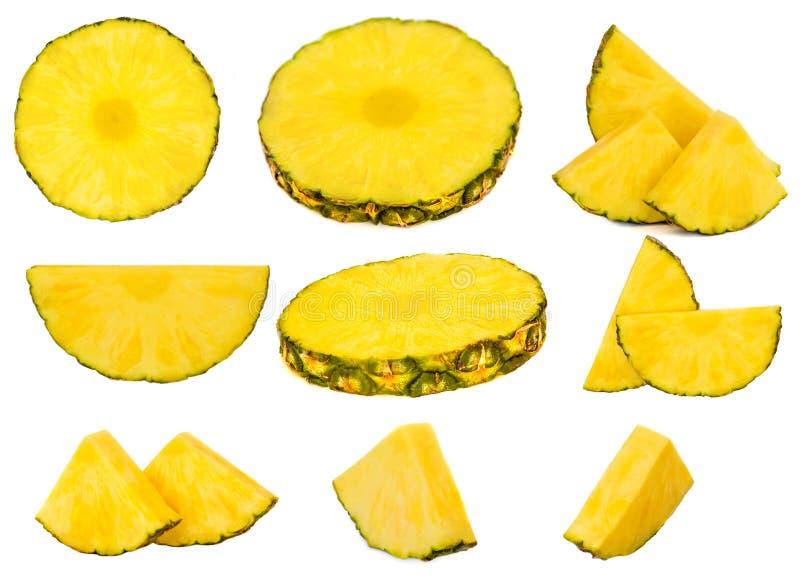 odizolowane tła ananasy w plastrach white Ananas składa owocową kolekcję fotografia stock