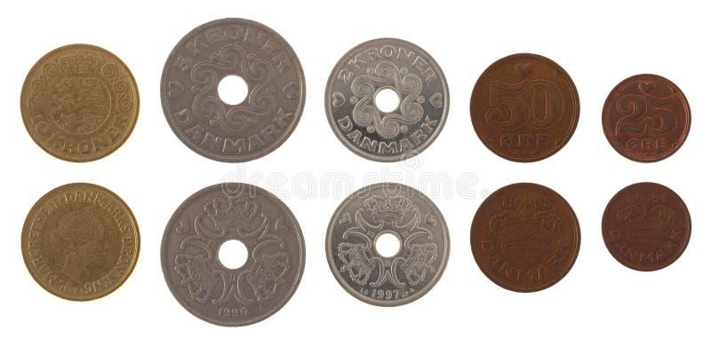 Odizolowywać na Biel duńskie Monety obraz stock