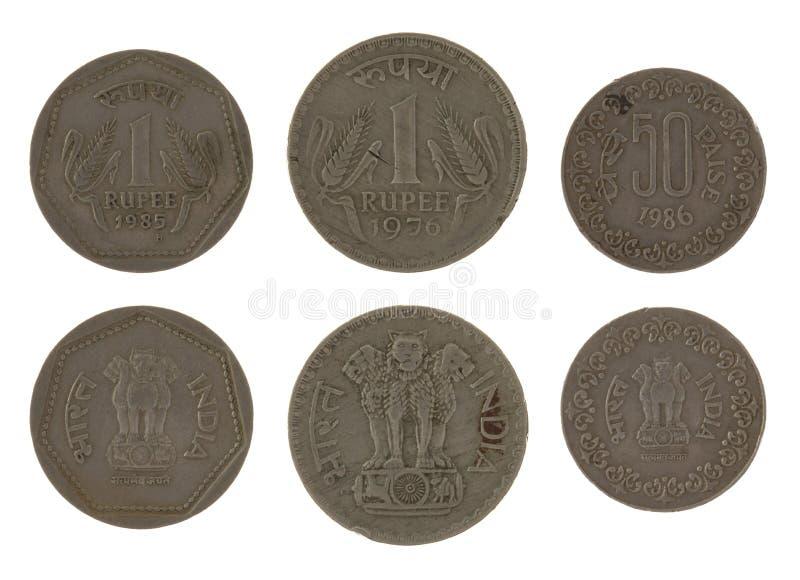 Odizolowywać na Biel indiańskie Monety zdjęcie stock