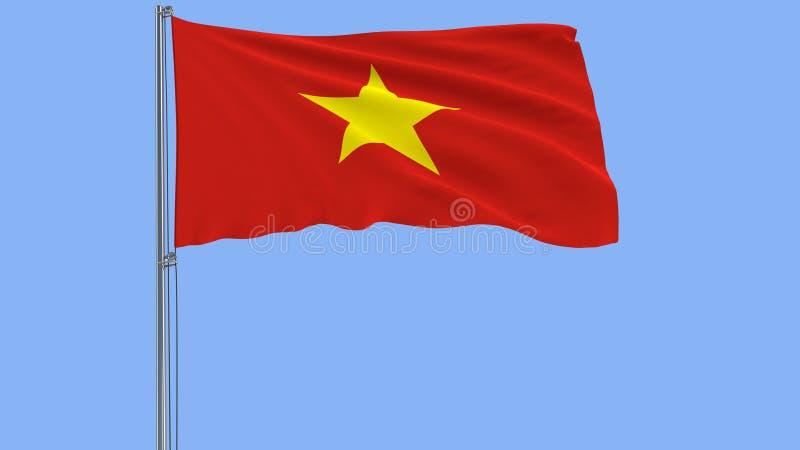Odizolowywa flaga Wietnam na flagpole trzepocze w wiatrze na błękitnym tle, 3d rendering obrazy stock