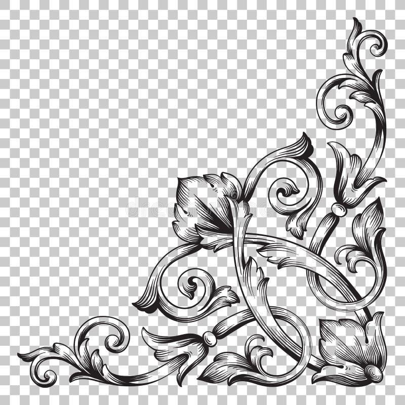 Odizolowywa narożnikowego ornament w baroku stylu ilustracji
