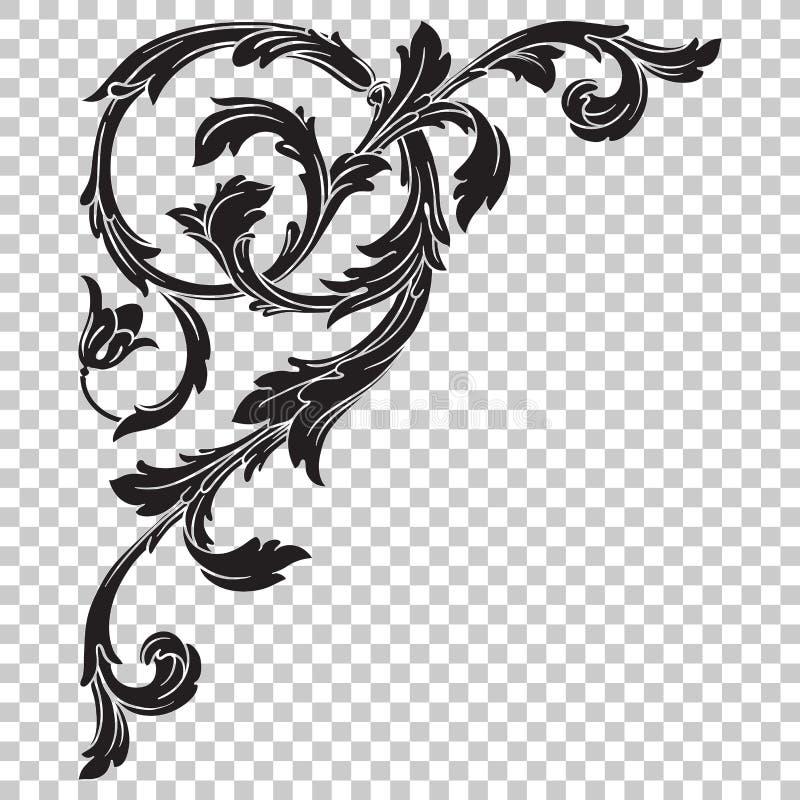Odizolowywa narożnikowego ornament w baroku stylu royalty ilustracja