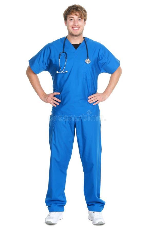 Odizolowywająca męska pielęgniarka lub lekarka fotografia stock