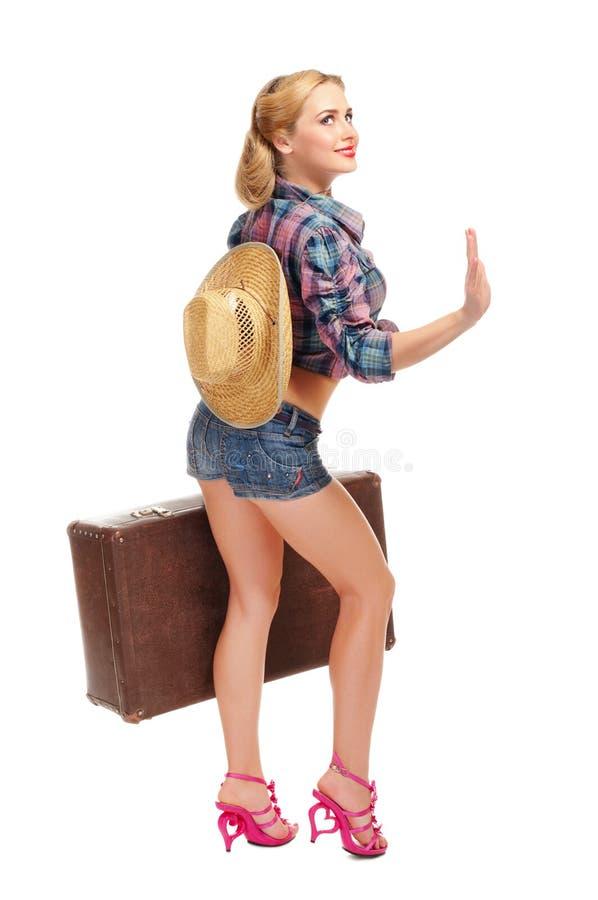 Odizolowywająca młoda kowbojska dziewczyna zdjęcia royalty free