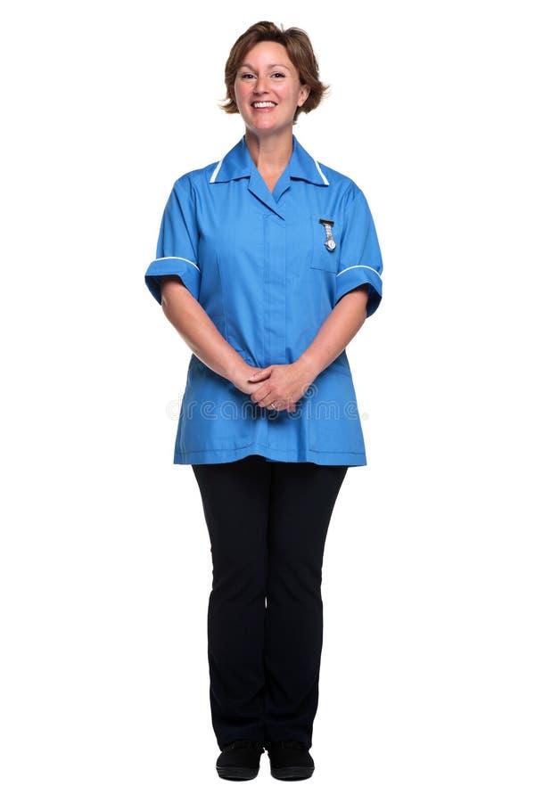 Odizolowywająca na biel żeńska pielęgniarka fotografia stock