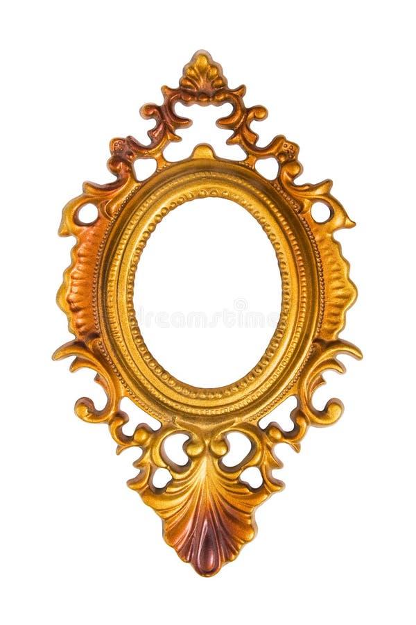 Odizolowywająca na biel obrazek owalna złota rama zdjęcie stock