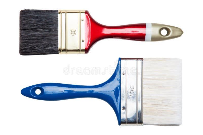 Odizolowywającego na biel farby dwa muśnięcia zdjęcia royalty free
