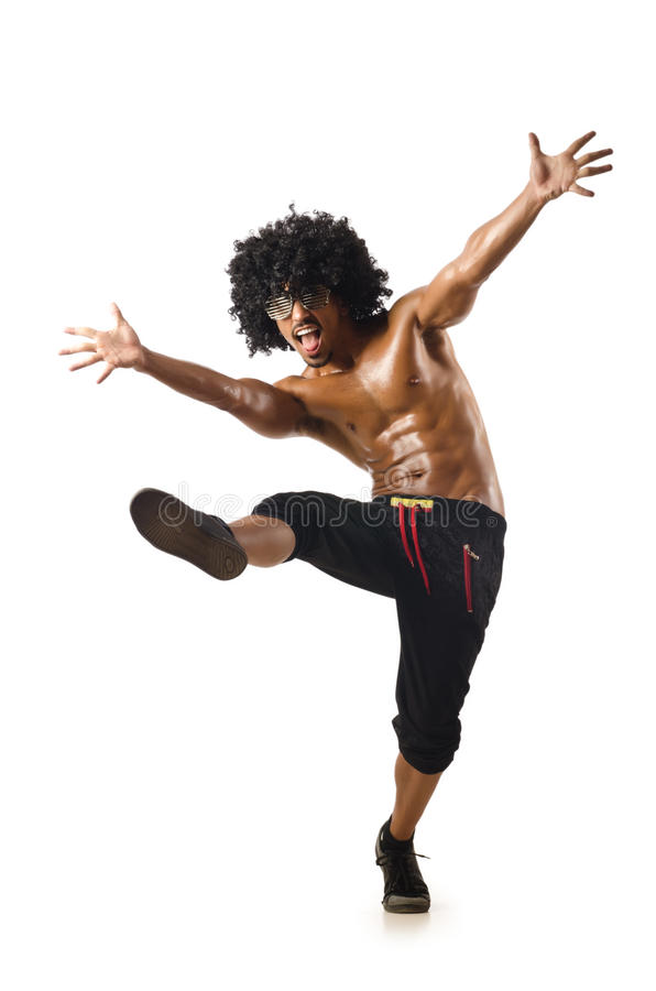 Odizolowywający śmieszny tancerz zdjęcia royalty free