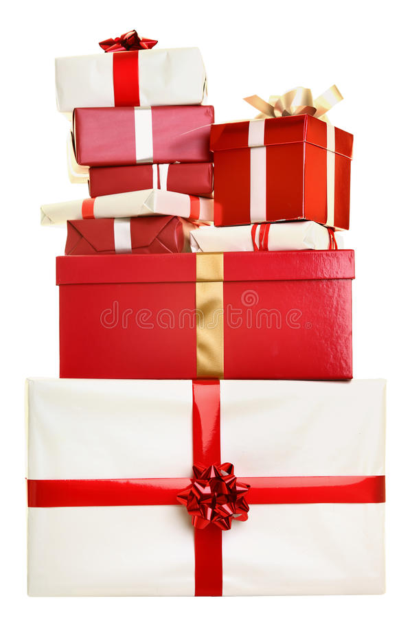 odizolowywający Boże Narodzenie prezenty obraz stock