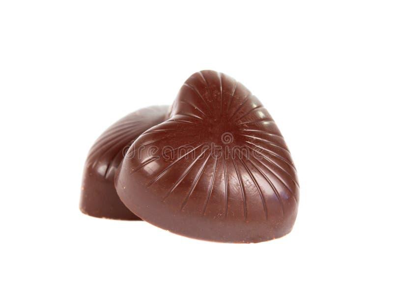 odizolowywający czekoladowy serce zdjęcie stock