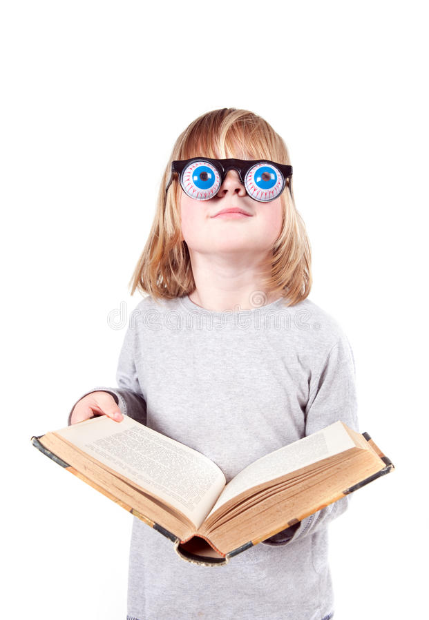 odizolowywający dzieci książkowi szkła obrazy stock