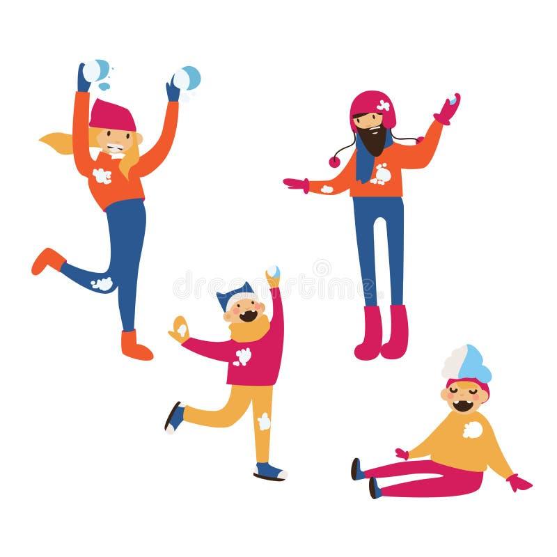 Odizolowywający na białej grupie ludzi Szczęśliwy rodzinny bój z śnieżnymi piłkami ilustracji