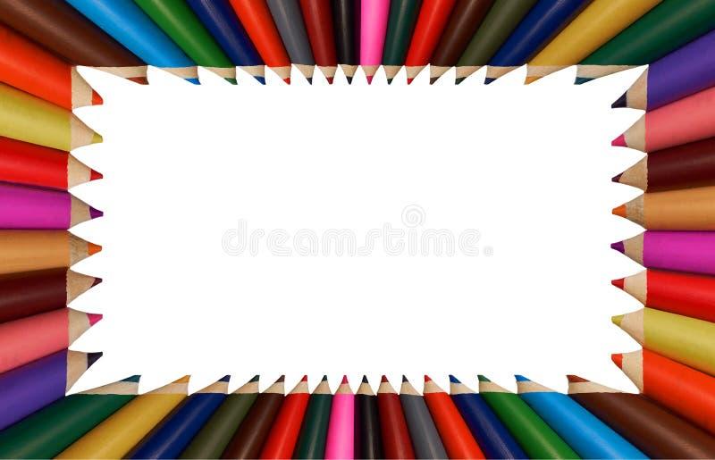 Odizolowywający na białej kolorowej tęcza ołówków ramie dla dziecko edukaci szkoły zastosowania Tęczy ramy projekt Malować ramę obraz stock