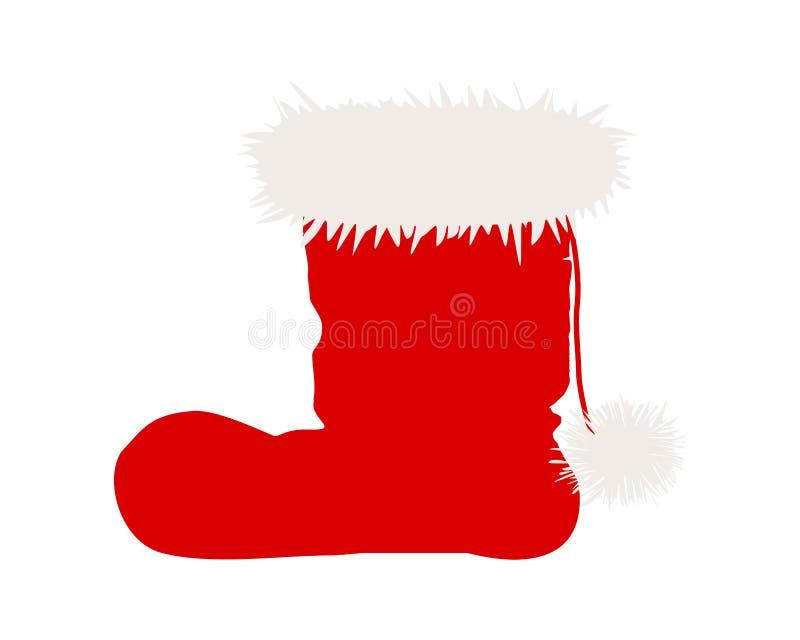 Odizolowywający na biel Święty Mikołaj buty ilustracja wektor