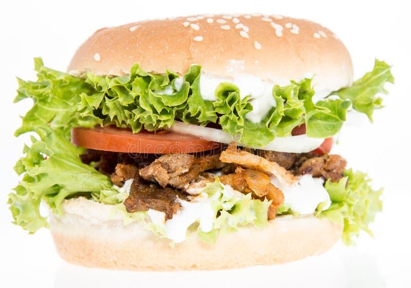 Odizolowywający na biel Kebab Hamburger zdjęcie royalty free