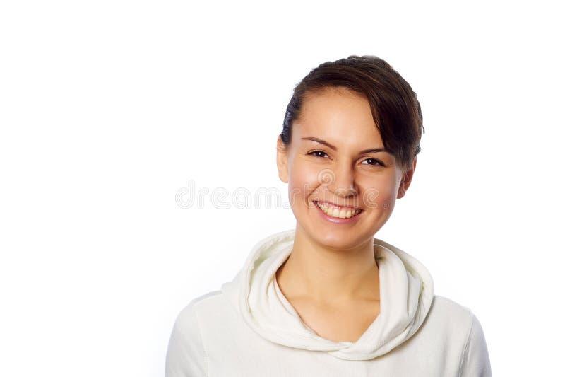 Odizolowywający na biel młoda kobieta portret obrazy royalty free