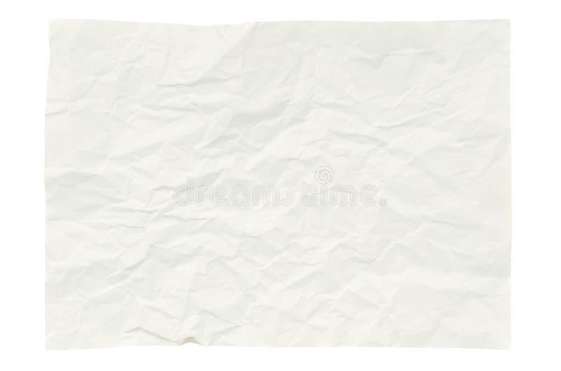 Odizolowywający na biel marszczący papier fotografia stock