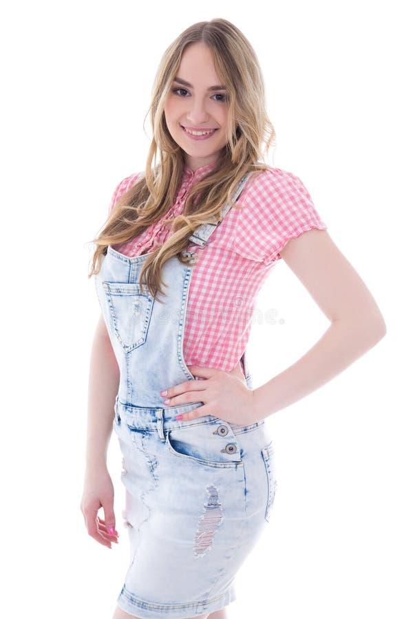 Odizolowywający na biel portret szczęśliwa nastoletnia dziewczyna zdjęcia stock