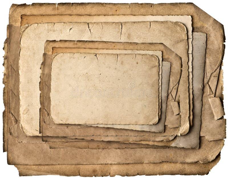 Odizolowywający na biel starzy papierowi prześcieradła obrazy stock