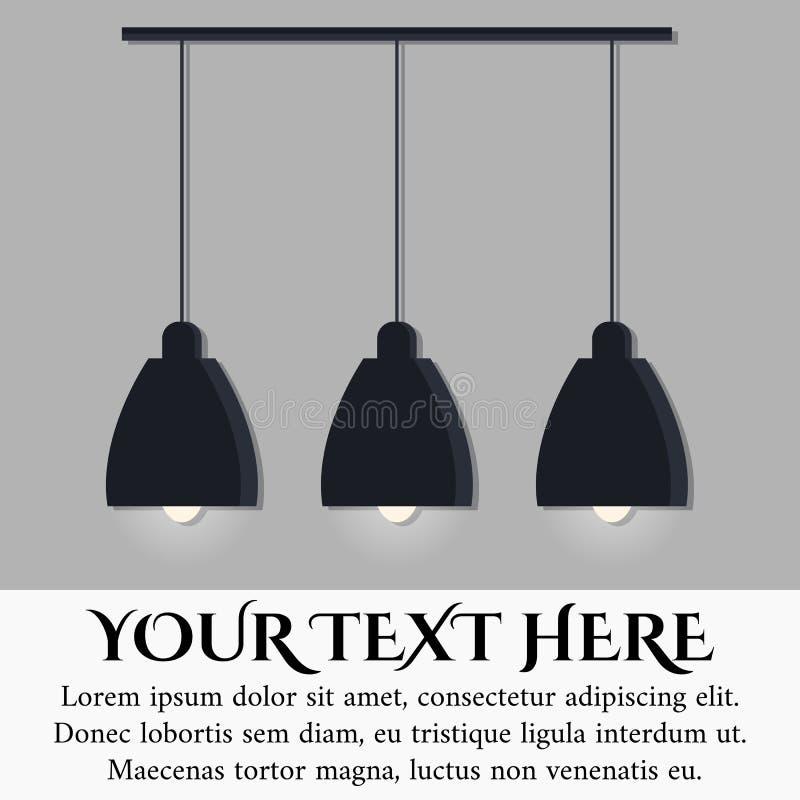 Odizolowywający na popielatego ściennego tła czerni scandinavian stylu nowożytnej lampie z trzy rozjarzonymi żarówkami ilustracji