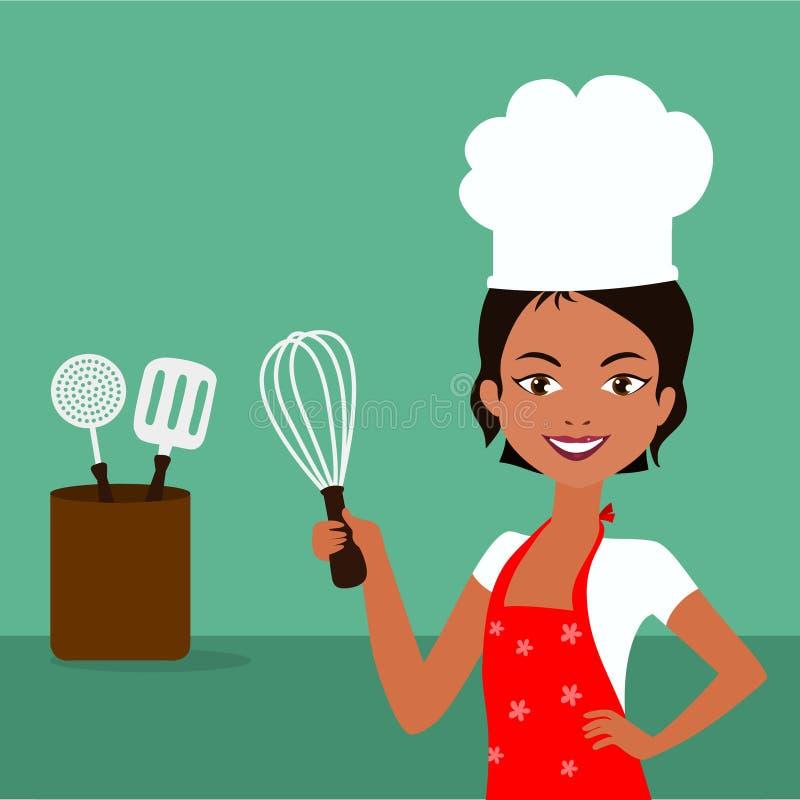 odizolowywający nad białą kobietą tło szef kuchni ilustracja wektor