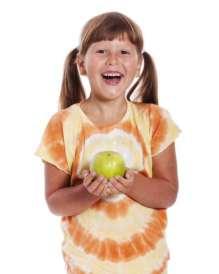 odizolowywający nad biel dziewczyny jabłczany mienie obrazy royalty free