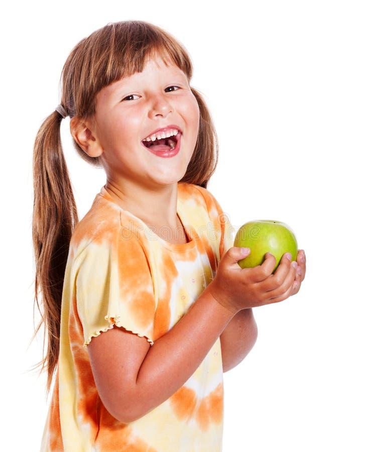 odizolowywający nad biel dziewczyny jabłczany mienie obrazy stock