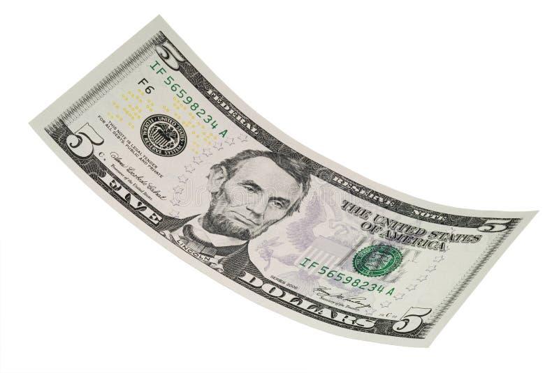 odizolowywający rachunku dolar pięć zdjęcie stock