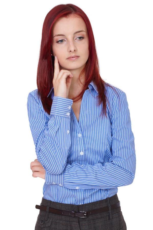 Odizolowywający rudzielec intrygujący zmieszany bizneswoman, zdjęcia royalty free