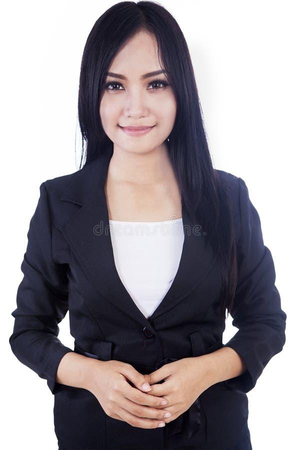 Odizolowywający w biel atrakcyjny bizneswoman zdjęcie stock