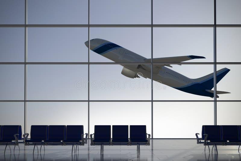 Odjazdu lotniskowy terminal ilustracji