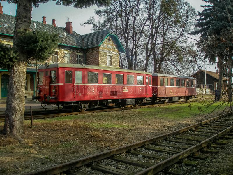 Odjeżdżanie oleju napędowego pociąg w nieużywanej staci Lednice zdjęcia royalty free