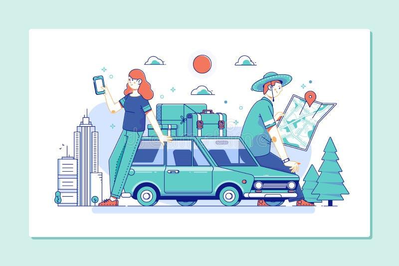 odkrywa cały świat Podróż bada, odkrywa i ono potyka się świat, Para turyści konsultuje miasta smartphone i przewdonika ilustracji