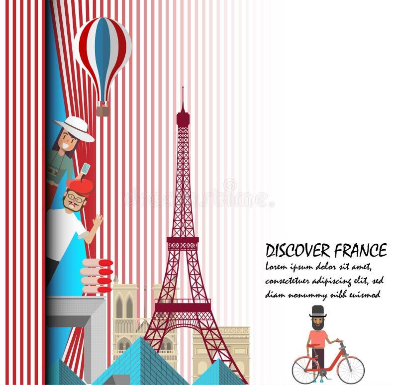 Odkrywa France Podróż Paris prezentaci szablon ilustracji