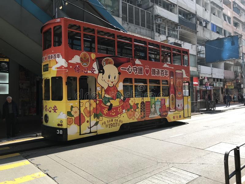 Odkrywa Hong Kong's Żywą historię Z TramOramic wycieczką turysyczną zdjęcia stock