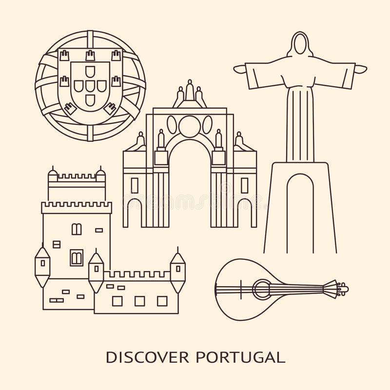 Odkrywa Portugalia sztandar lub plakata szablon z ikonami w kreskowym stylu ilustracji