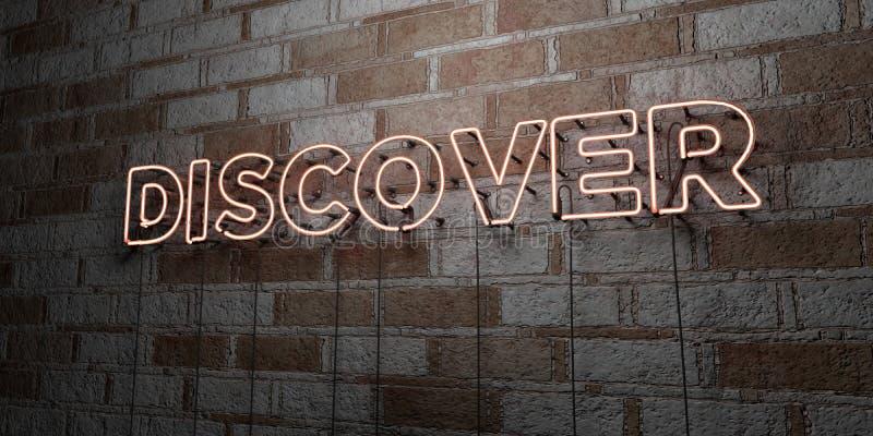 ODKRYWA - Rozjarzony Neonowy znak na kamieniarki ścianie - 3D odpłacająca się królewskości bezpłatna akcyjna ilustracja ilustracji