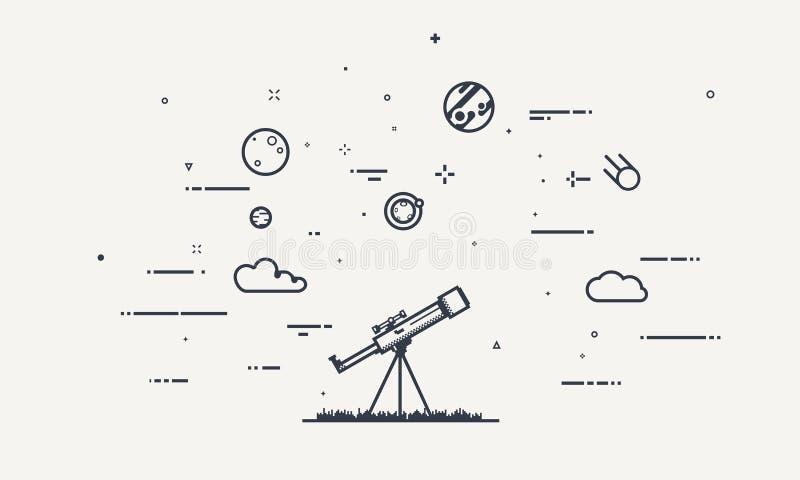 Odkrywa teleskopu pojęcie royalty ilustracja