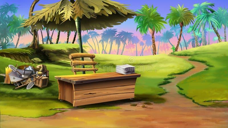 Odkrywcy siedziba na wyspie Frontowy widok ilustracja wektor