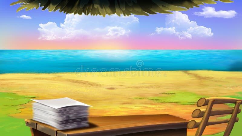 Odkrywcy siedziba na wyspie widok z powrotem ilustracja wektor