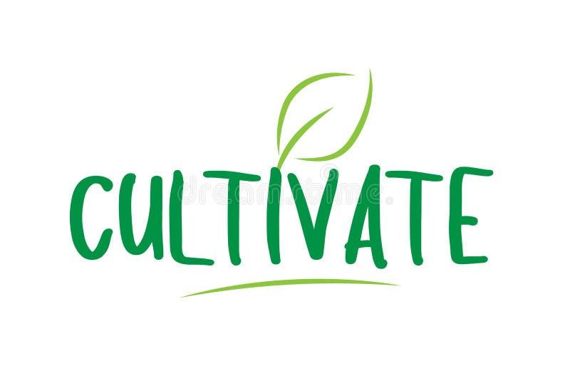 odla grön ordtext med design för bladsymbolslogo vektor illustrationer