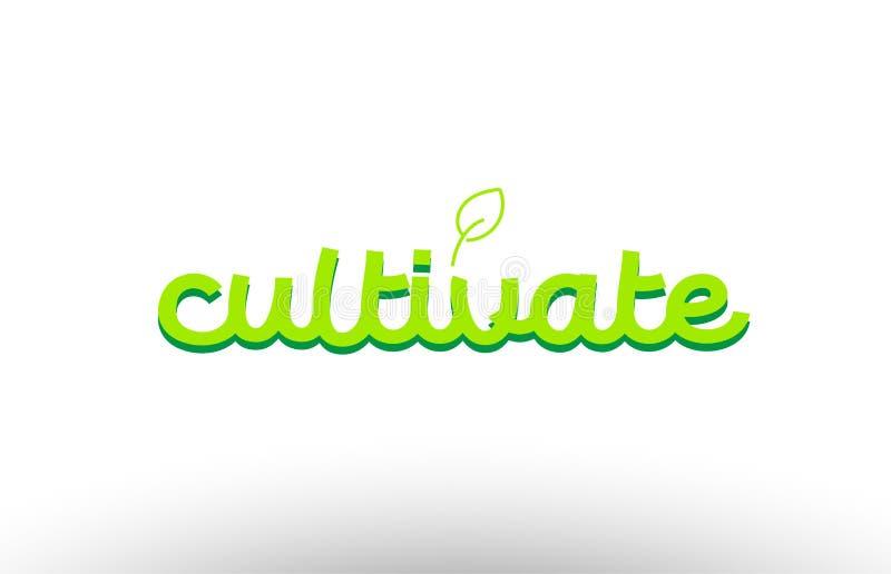 odla ordbegreppet med grön design för företag för bladlogosymbol stock illustrationer