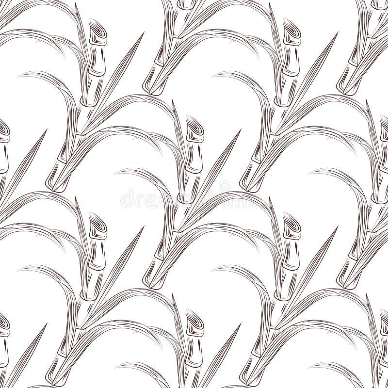 Odla stjälk för sockerrottingen med den sömlösa modellen för sidor royaltyfri illustrationer
