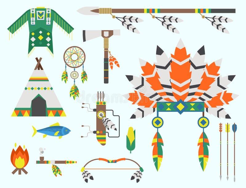 Odlar den lösa västra amerikanska indiern planlagda begreppet för traditionell konst för beståndsdelen och den infödda stam- etni vektor illustrationer