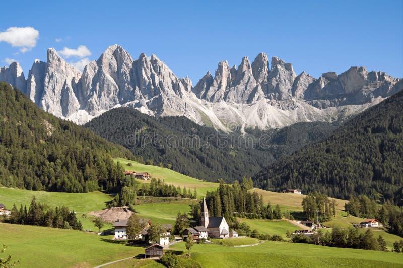 Odle, funes谷,南蒂罗尔,意大利 免版税图库摄影