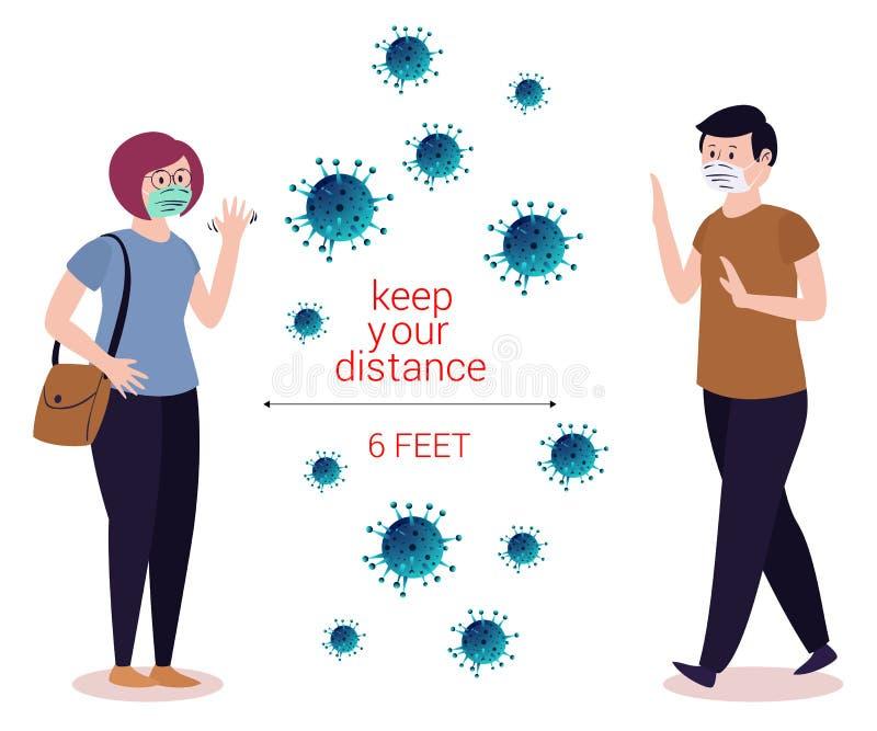 Odległość społeczna zapobiegania wirusom Corona kompozycja corona virus covid19 royalty ilustracja